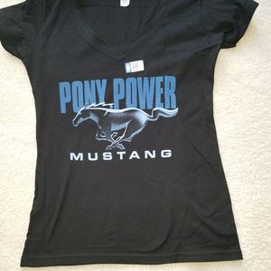 This is a ladies Mustang licensed t-shirt.